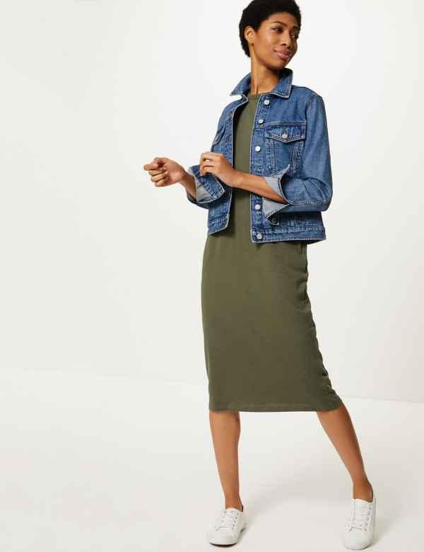984380f32 Pure Cotton Patch Pocket T-Shirt Midi Dress