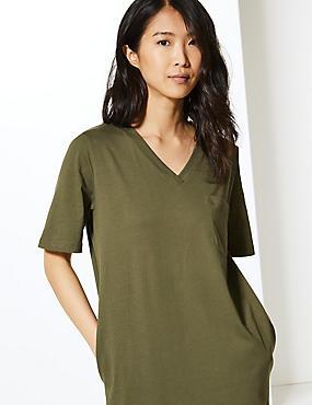 926e7325eb5ca6 Midi-T-shirt-jurk van zuiver katoen met opgenaaide zak