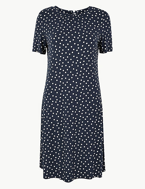 Polka Dot Jersey Swing Dress