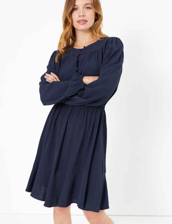 e7ae83b22b PETITE Button Detail Waisted Mini Dress