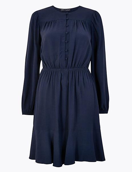 PETITE Button Detail Waisted Mini Dress