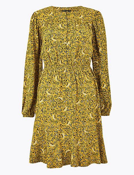 PETITE Floral Mini Waisted Dress