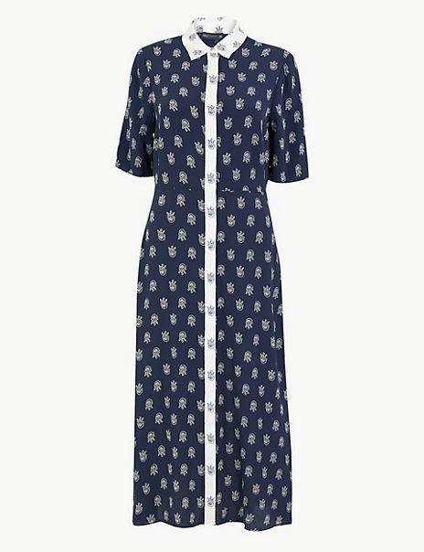 Foulard Printed Midi Shirt Dress