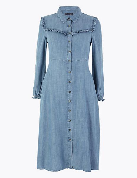 PETITE Denim Ruffle Midi Shirt Dress