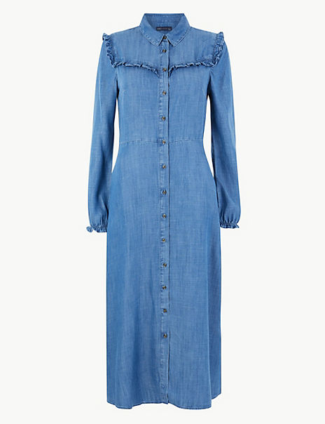 Denim Ruffle Shirt Midi Dress