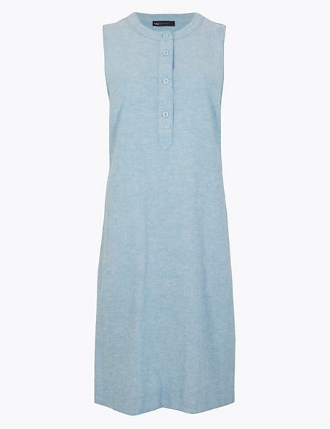 Linen Rich Knee Length Shift Dress