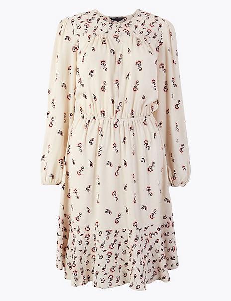 Printed Knee Length Waisted Dress