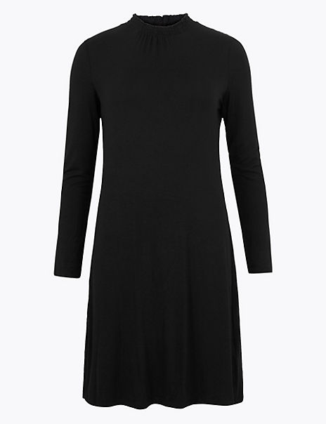 Jersey Long Sleeve Knee Length Swing Dress
