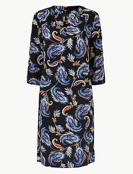 Crepe Paisley Print Shift Dress