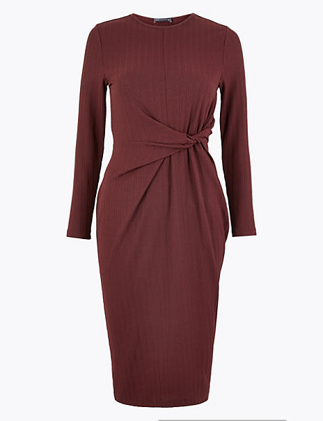 Twist Front Bodycon Midi Dress