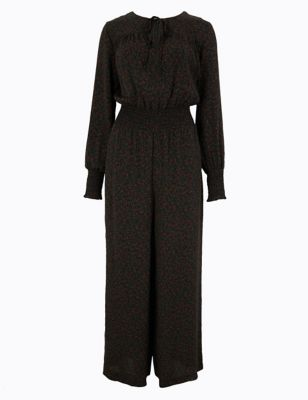 Ditsy Print Tie Neck Waisted Jumpsuit by Marks & Spencer