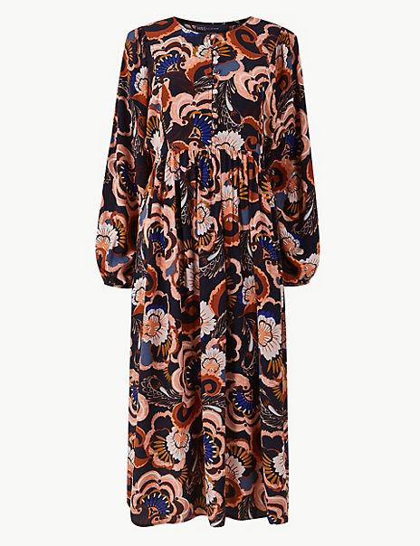 Bib Detail Floral Relaxed Midi Dress