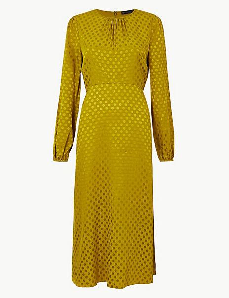 Jacquard Spot Fit & Flare Midi Dress