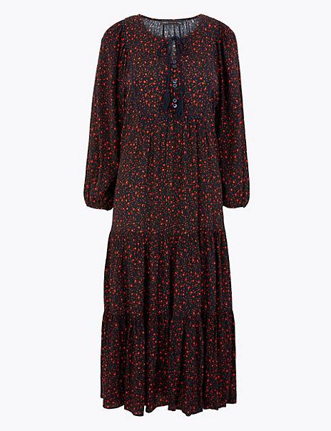 Ditsy Print Relaxed Midi Dress