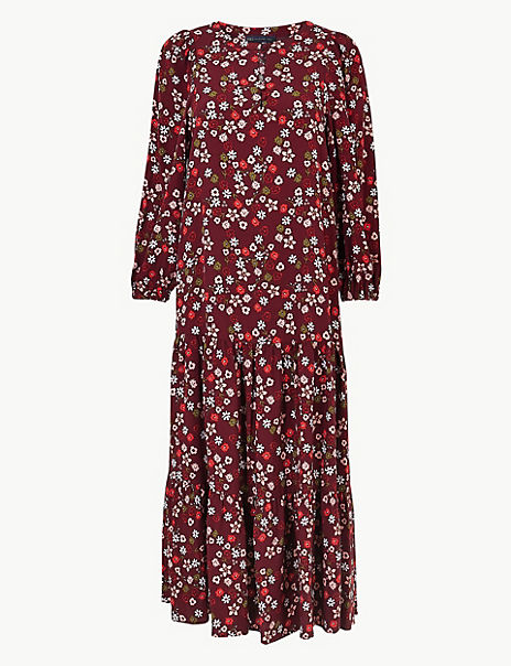 Ditsy Floral Print Relaxed Midi Dress