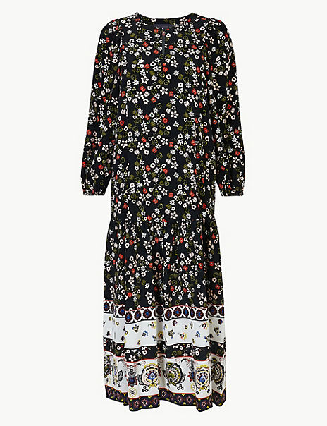 Floral Border Print Relaxed Midi Dress