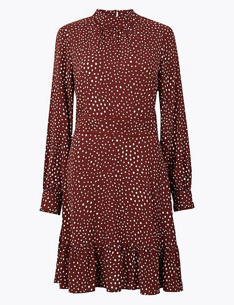 Polka Dot Relaxed Mini Dress