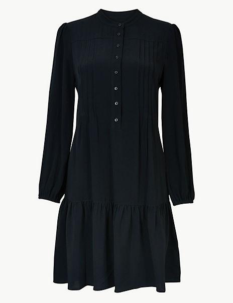 Pintuck Relaxed Mini Dress