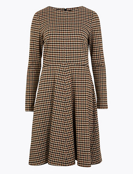 Dogtooth Fit & Flare Dress