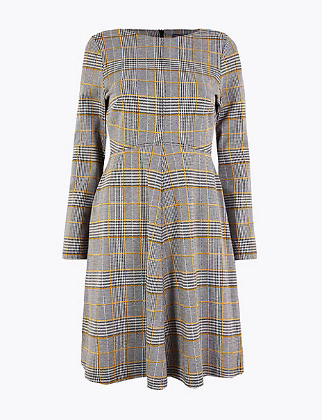 PETITE Checked Fit & Flare Dress