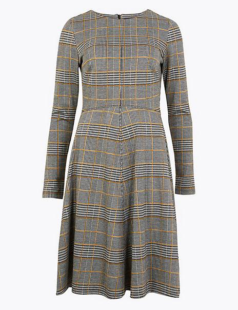 Multi Checked Fit & Flare Midi Dress