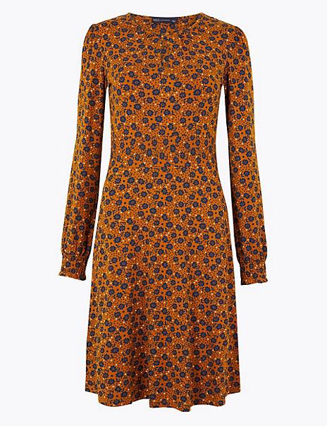 Floral Jersey Fit & Flare Mini Dress