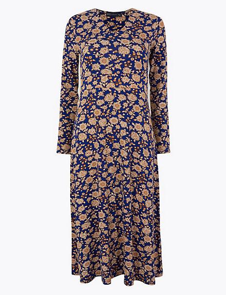 Floral Print Jersey Fit & Flare Midi Dress