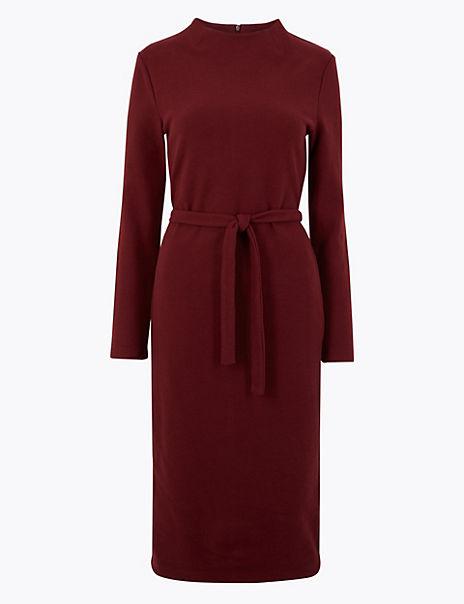 Belted Shift Midi Dress