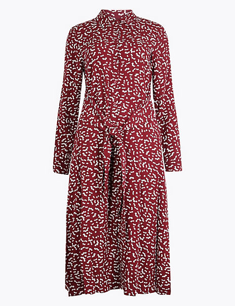 Printed Tie Front Shirt Dress