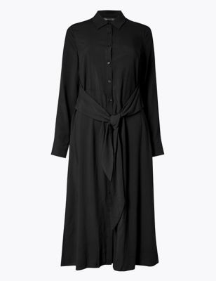 Tie Front Shirt Midi Dress by Marks & Spencer