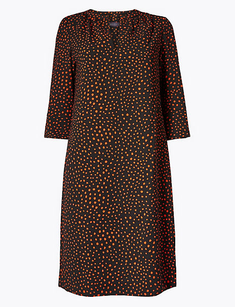 Polka Dot 3/4 Sleeve Shift Dress