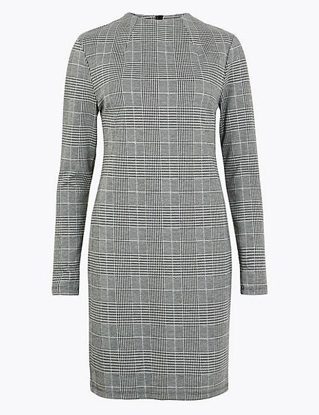 Jacquard Checked Shift Dress