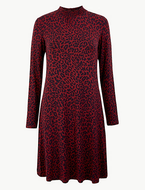 Animal Print Jersey Swing Dress
