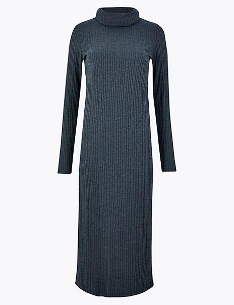 Cowl Neck Ribbed Midi Shift Dress