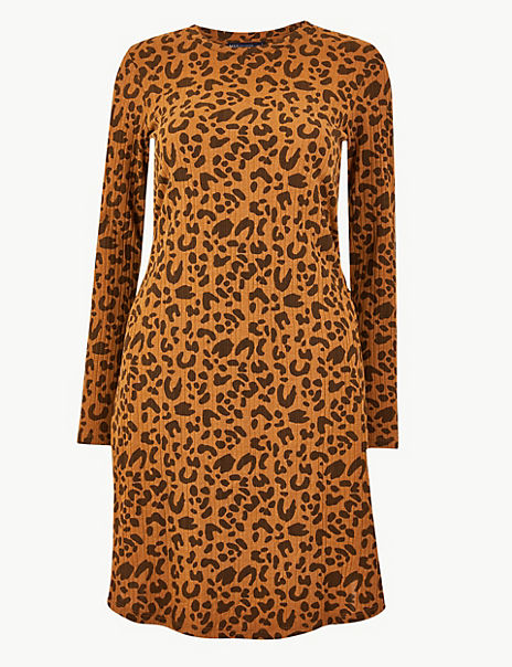 Ribbed Animal Print Swing Dress