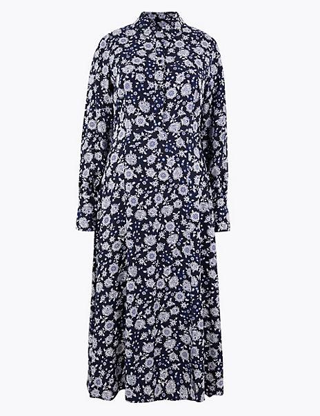 Floral Shirt Midi Dress