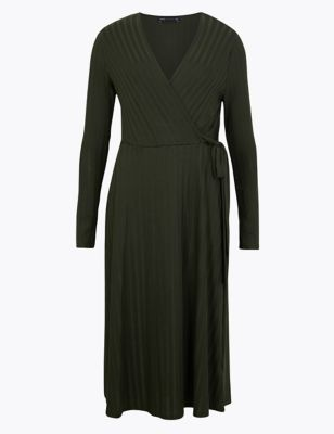 Ribbed Fit &Amp; Flare Midi Dress by Marks & Spencer