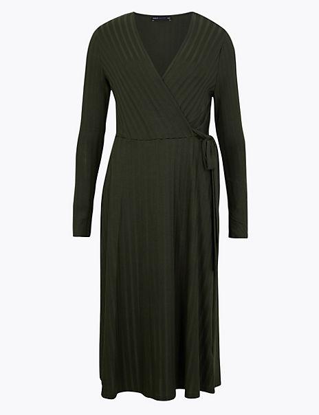Ribbed Fit & Flare Midi Dress