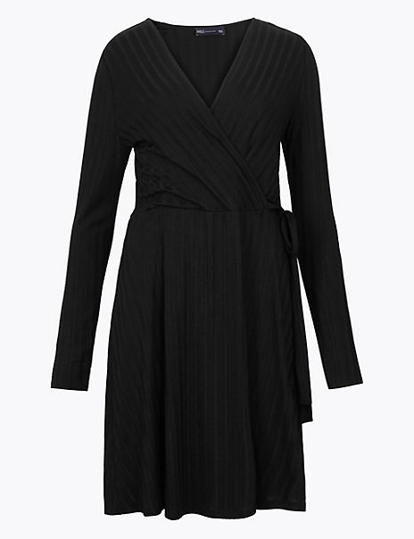 Ribbed Fit & Flare Wrap Dress
