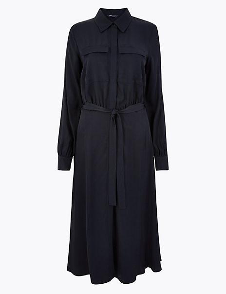 Tie Front Shirt Midi Dress