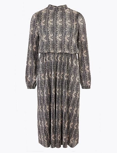 Animal Print Waisted Midi Dress