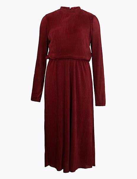 Plisse Waisted Midi Dress