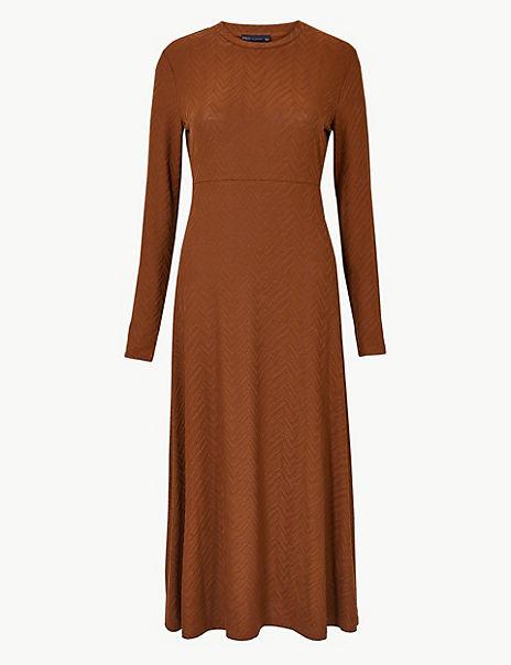 Jacquard Print Fit & Flare Midi Dress