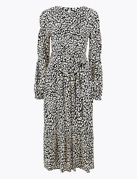 Animal Print Belted Waisted Midi Dress