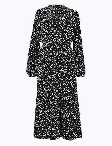 Frill Collar Waisted Midi Dress