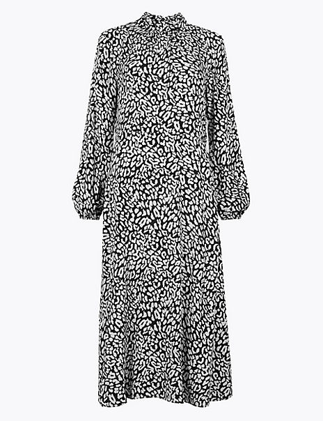 Animal Print Relaxed Midi Dress