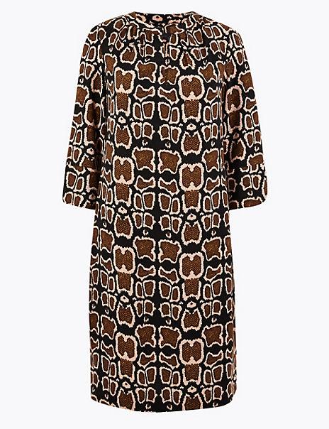 Animal Print Crepe Shift Dress