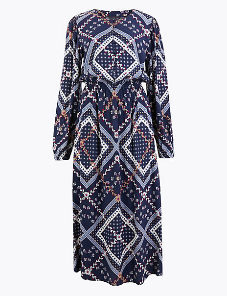 Patchwork Printed Waisted Midi Dress