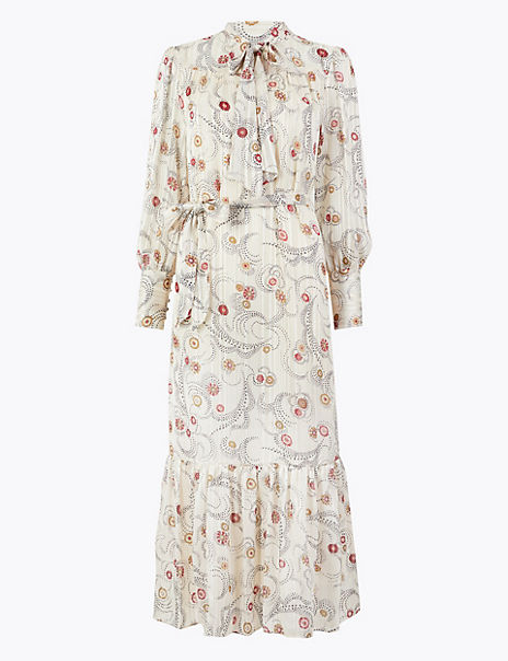 Floral Print Relaxed Midi Dress