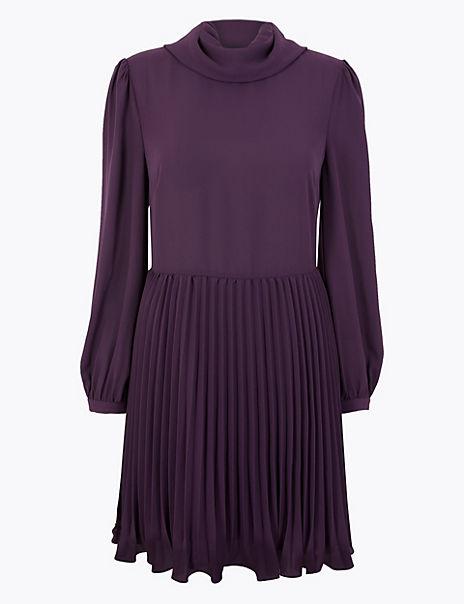 Chiffon Pleated Waisted Mini Dress